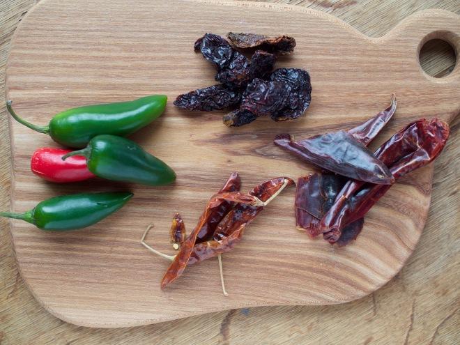 Vasemalla tuoreita jalapenoja, ylhäällä keskellä savustettuja, kuivattuja jalapenoja eli chipotleja, oikealla New Mexico -chilejä ja alimmaisena keskellä chile de arbol -chilejä.